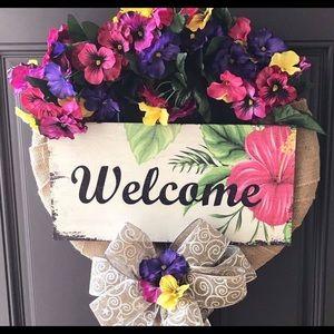 Front door welcome wreath